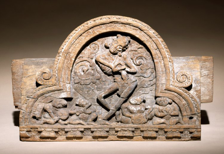 Architectural fragment with figure of dancing ascetic